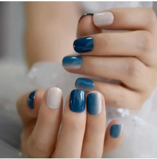 Gradiente Corto Gel De Uñas Azules Prensa Natural