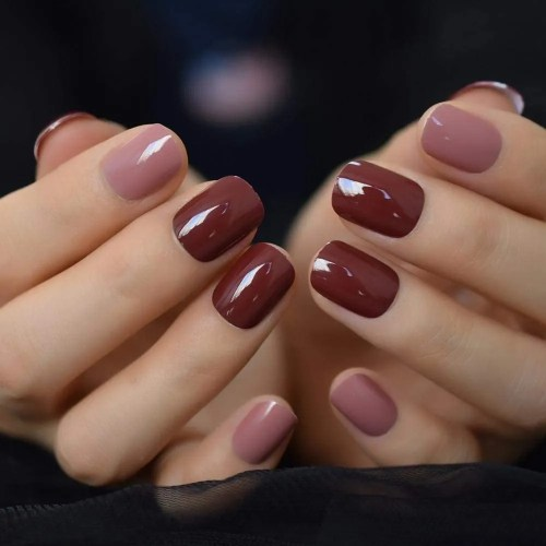 QULIN Puntas de uñas falsas cortas y brillantes de coco Puntas de uñas de color marrón liso para estampado de uñas
