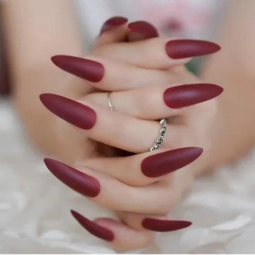 LJPHCC Puntas Largas De Uñas De Estilete Uñas De Color Rojo Vino Uñas Acrílicas Envoltura Completa Salon Wear Uñas...