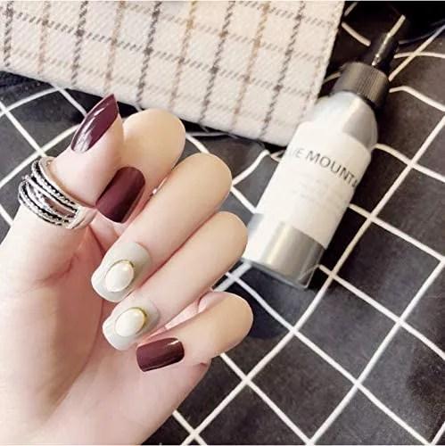Uñas Postizas, Natural Francés Nails,24Pcs De Uñas Falsas Simples De Color Rojo Vino, Con Puntas De Uñas Artificiales Cuadradas