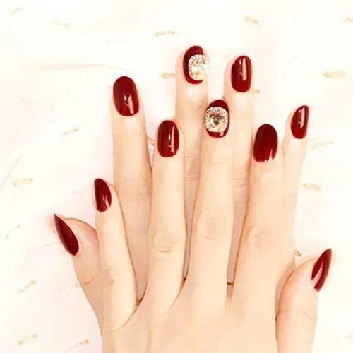 24 uñas postizas de Spestyle, color rojo vino, con pegamento