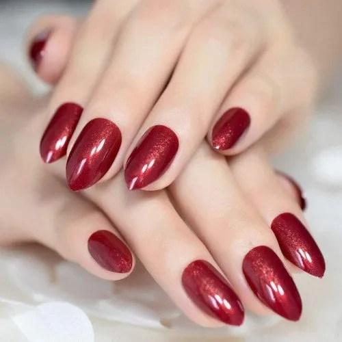 24 uñas postizas de color rojo vino brillante, punta de uñas postizas, punta media, punta de uñas postizas, color rojo vino tinto para...