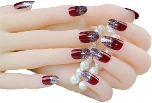 JINDIN 24 hojas de uñas postizas de Navidad para niñas, uñas postizas ovaladas, cobertura completa, diseño mediano largo, color...
