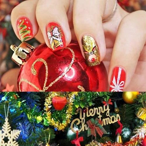 Uñas con diseños de navidad de color rojo y dorados
