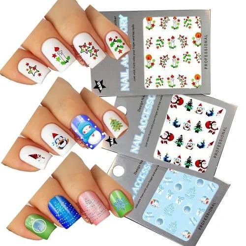 Stickers para uñas diseños de navidad
