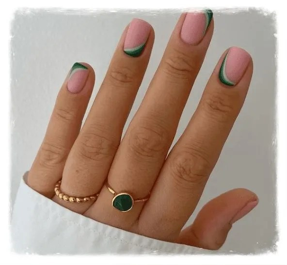 uñas semipermantes francesas modas rosa verde