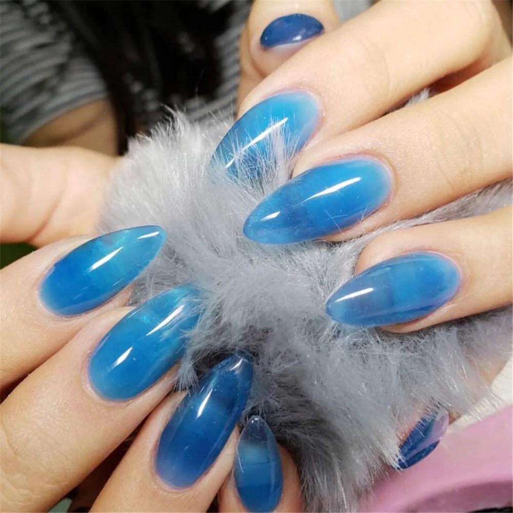 uñas acrílicas cobertura completa falsa uñas azul claro cielo