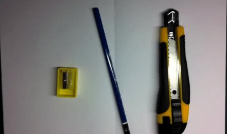 鉛筆削り,鉛筆,カッターナイフ