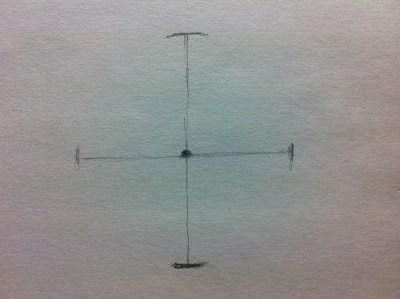 同じ長さの寸法で横の直径の線も描く