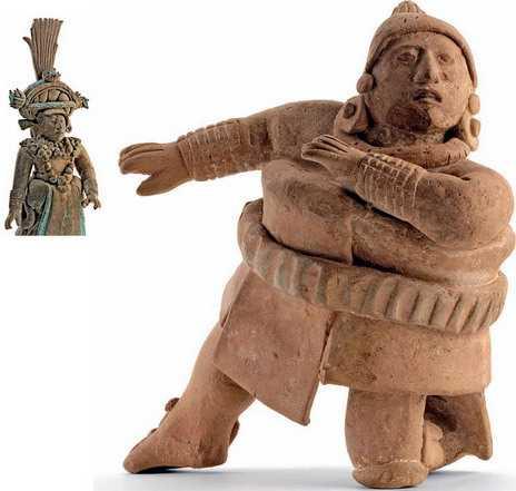 Общество майя страдало от непомерных притязаний элиты, которая хотела жить красиво. Знатные люди любили головные уборы, богато украшенные наряды, перья редких птиц, нефрит, ракушки. Одного подобного «хозяина жизни» можно узнать в глиняной фигурке (слева). Внизу: для ритуальной игры в мяч требовалась одежда из плотной ткани, и это была игра не на жизнь, а на смерть. За проигрыш могли и обезглавить.