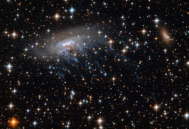 Галактика ESO 137-001 в созвездии Южного Треугольника. Часть спирали разрушена и под влиянием невидимых сил. © NASA, ESA/Ming Sun (UAH), Serge Meunier