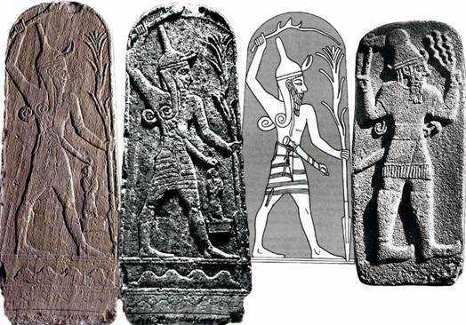Рис. 9. Слева направо: два вариант изображение Баала на камне (бронзовый век); прорисовка изображения Баала; изображение Баала на камне – в «обличии», как считают некоторые, Яхве.