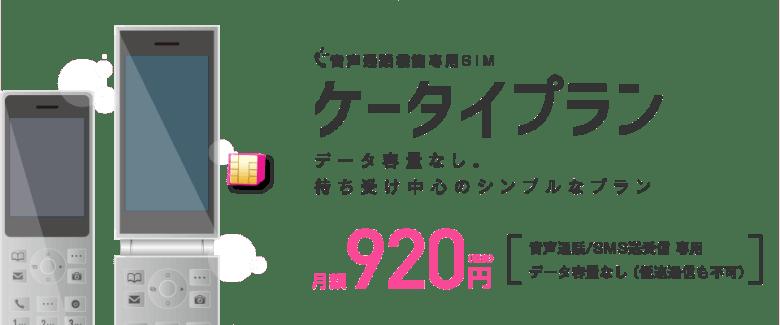 音声通話機能専用SIM ケータイプラン