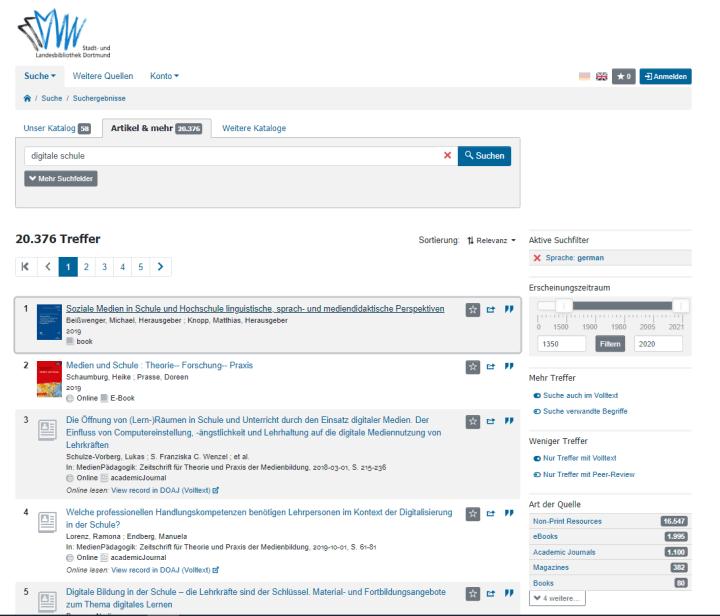 Screenshot 2 Bibliothek Dortmund DigiBib