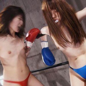 貧乳VS微乳おっぱい丸出しトップレス女子ボクシング!夢乃美咲に笠木いちかが人間サンドバックにされ失神!!