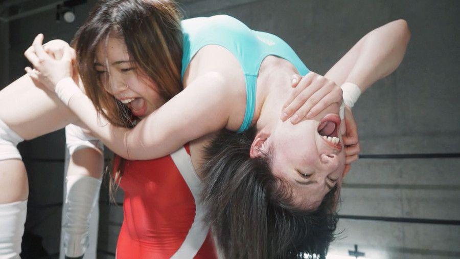 女子プロレスで失神しまくり!美波沙耶と東雲むぎが痛めつけられ発狂し首絞めで酸欠で暴れまくる光景がエグイ!!