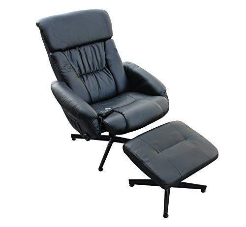 ECO-DE 739 Massagesessel mit Hocker, 9 verschiedene Massagen mit Wärmefunktion und Vibration, Schwarz