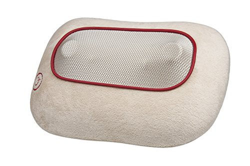 Ecomed MC-81E Shiatsu-Massagekissen, mit Wärmefunktion, 4 rotierende Massageköpfe, Rotlichtfunktion für Nacken, Schulter, Rücken und Beine