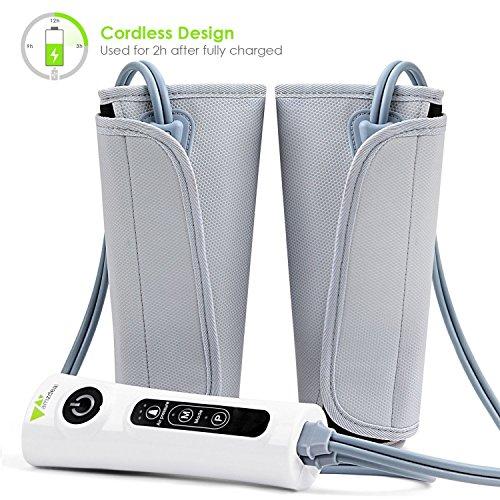 Amzdeal Massagegerät Beine Venentrainer Waden Massage, Luftkompression Beinwickel für Kalb Arm Fußzirkulation, mit eingebauten wiederaufladbare Batterie
