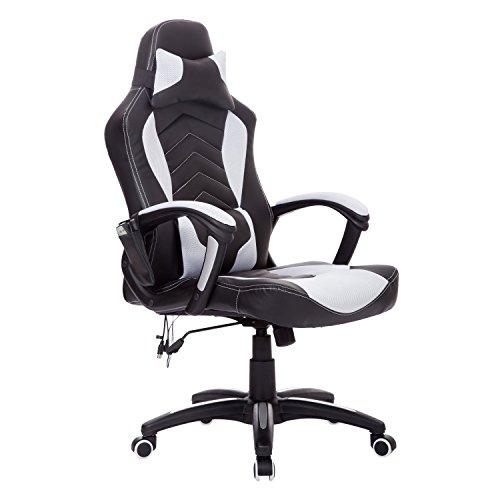 HOMCOM® Bürostuhl Drehstuhl Sportsitz Massagesessel Chefsessel Massage mit Wärmefunktion (schwarz + weiß)