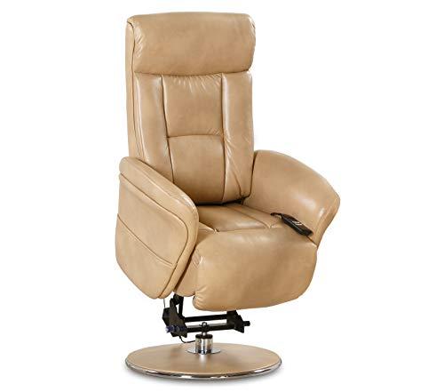 aktivshop Aufstehsessel Fernsehsessel Massagesessel mit elektrischer Aufstehhilfe, Wärmefunktion & Massage, Drehbar || Sanftes Aufstehen & Hinsetzen (Cappuccino)