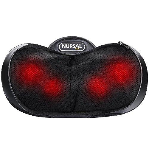 NURSAL 4 Modi 3D Shiatsu Massagekissen Knetmassage mit Hitzefunktion für Nacken, Schultern, Rücken, steife Muskeln und bei Schmerzen für das Büro, Auto oder für zuhause mit warmer Handtasche