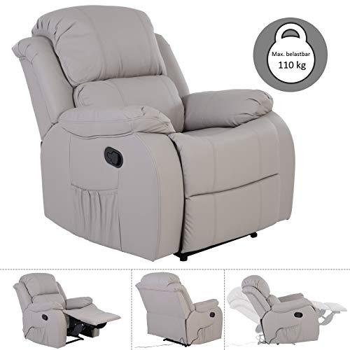 MACO Import Fernsehsessel Relaxsessel grau kippbar TV Liege mit elektrische Massage, Heizung