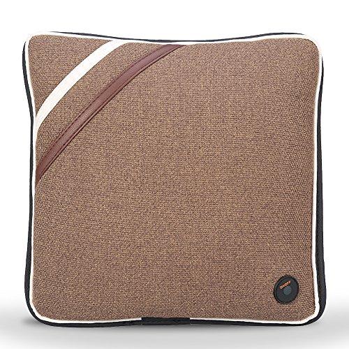 Elektrische Massagekissen Kabelloses Massieren Kissen Entlasten Rücken Hals und Schulter Schmerzen für zu Hause Büro und Auto, USB Laden FDA-Standard(Leinen Braun)
