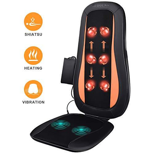 Massagematte Massageauflage Rückenmassagegerät mit Wärmefunktion, Shiatsu Massagesitzauflage mit Kneten Rollmassage, Vibration, 3 Verschiedenen Massagezonen für Rücken Gesäß Schmerzlinderung