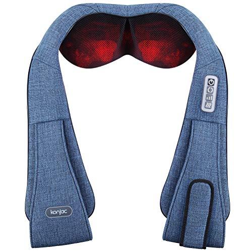 Konjac Elektrisch Massagegerät mit Infrarot Wärmefunktion 3D Rotation Shiatsu Nackenmassagegerät für Massage auf Nacken Schulter Rücken für Müdigkeit Lindern Schmerzverlinderung (Hellblau)