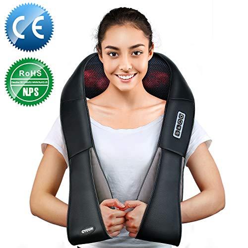 Nackenmassagegerät, Elektrische Massagegerät mit Wärmefunktion für Schulter Nacken Rücken, Shiatsu Massagekissen Wärmefunktion Massager, 3D Rotation Masseur Massage für Haus Büro Auto