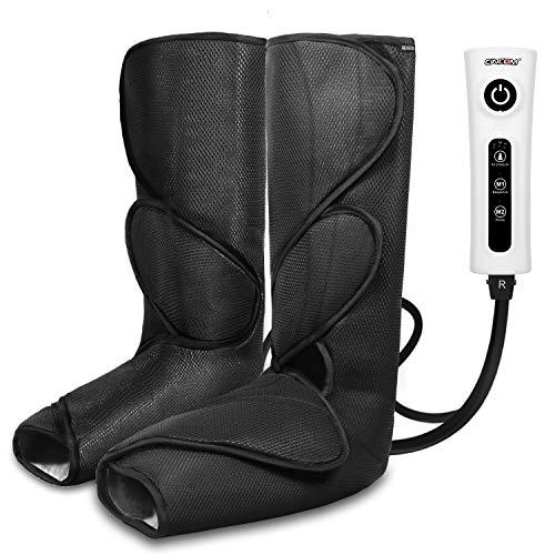 CINCOM Beinmassagegerät für Fußwaden-Luftkompression Beinwickel mit tragbarem Handbediengerät 2 Modi & 3 Intensitäten - Schwarz