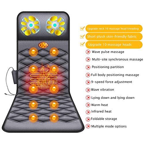 ACCDUER Ganzkörpermassagegerät, Massage-Matte mit Heat 10 Vibrationsmotoren Massage-Matratzenauflage zur Linderung von Rückenschmerzen