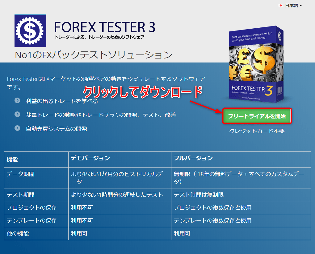 ForexTester3をインストール