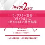 ライブスター証券「iサイクル2」の8月16日まで運用結果