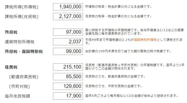 手順その3.「課税所得」「所得税」「住民税」が計算される
