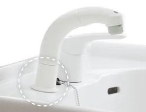 ワイド10度傾斜に取り付いた水栓金具