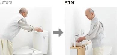 レストパルは手洗い器も使い易く設計!誰でも楽に手が洗えます
