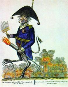 Samtidig tegning der viser William Congreve som fanden selv