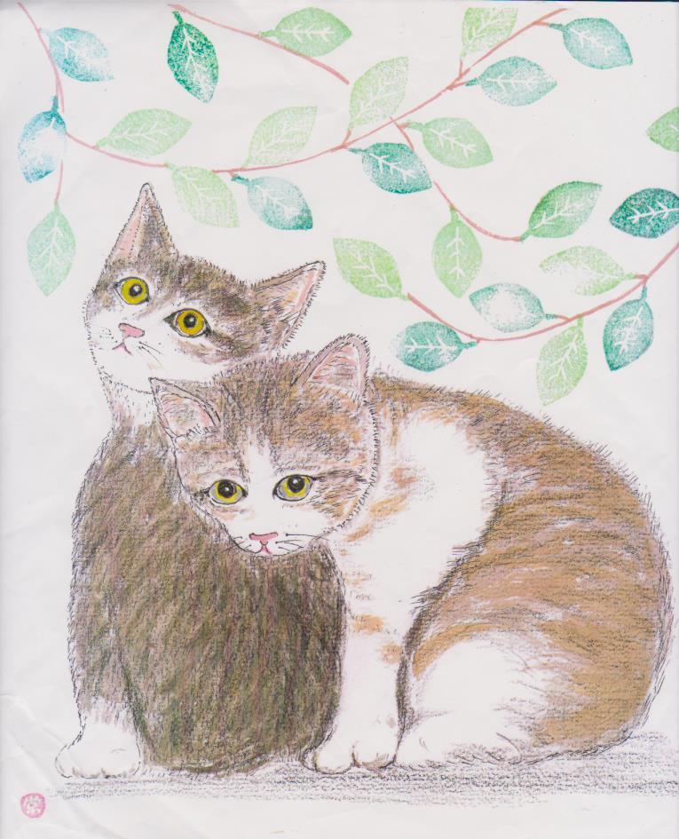 色紙の絵-よりそう猫