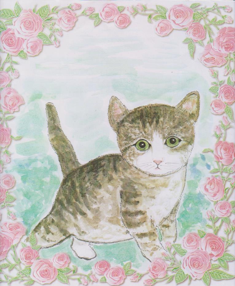 色紙の絵-子猫