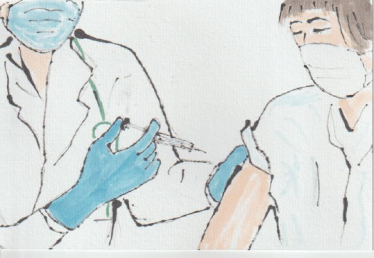 注射の絵手紙ー1