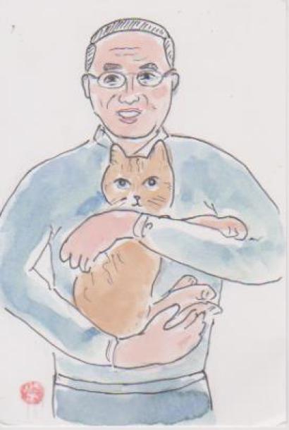 猫と一緒の自画像イラスト