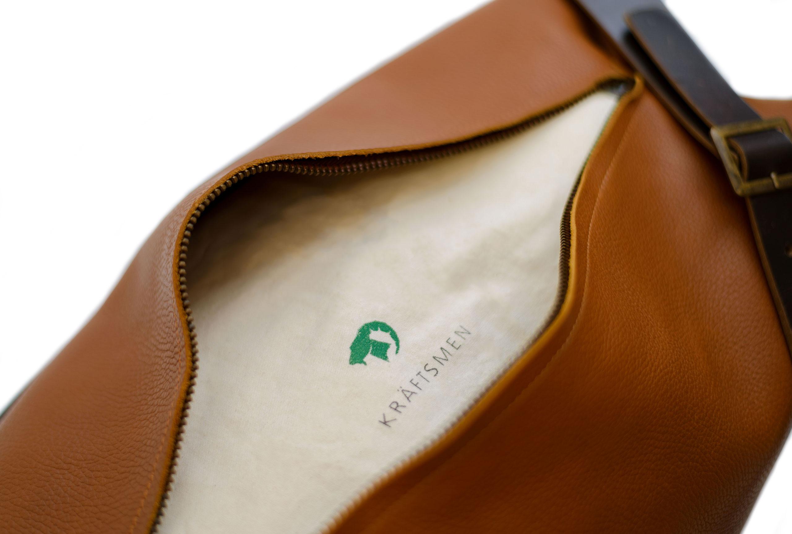 Leather duffle bag by Kraftsmen