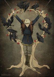 Theon Greyjoy o Hediondo rodeado de cuervos