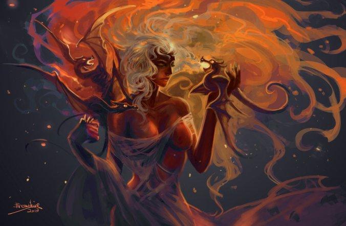 Daenerys Targaryen durante el nacimiento de los dragones