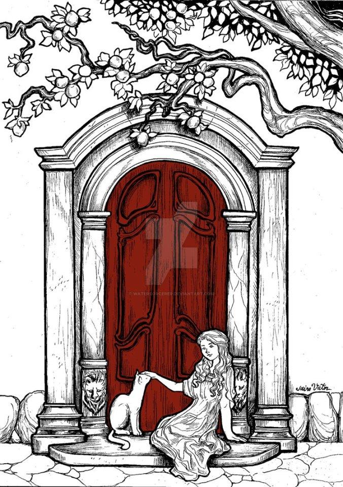 Daenerys de niña en la puerta roja de Braavos