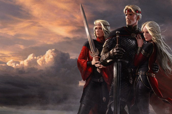 Ilustración de Aegon Targaryen el Conquistador, Rhaenys Targaryen y Visenya Targaryen