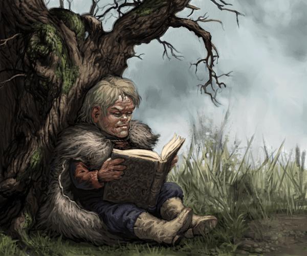 Ilustración de Tyrion Lannister leyendo