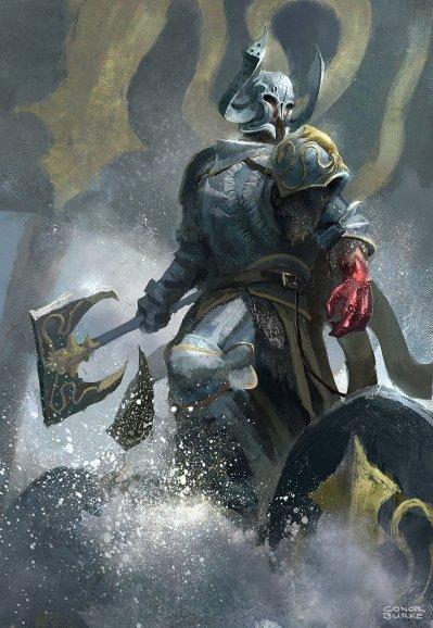 Ilustración de Victarion Greyjoy con la mano herida